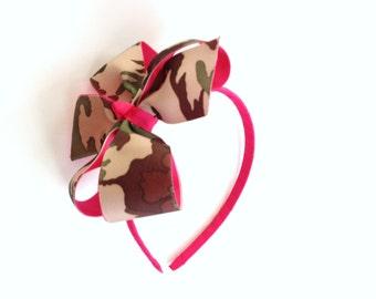 Girls Camouflage Headband Teen Hair Accessory Camo Hair Bow Green Brown Tan Camo Print With Hot Pink Headband