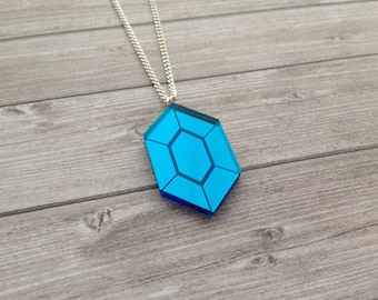 Zelda blue rupee necklace - The Legend of Zelda, Nintendo, Breath of the Wild, geek, cute, japanese, Link, Ganondorf, lasercut acrylic