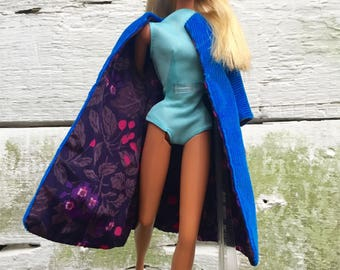 ON SALE!! Barbie Doll Blue Corduroy Coat Vintage 1960s Handmade