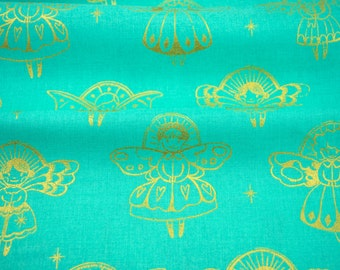 Angels in Aqua Metallic - Garland collection by Cotton + Steel - fabric by the fat quarter, half yard, yard or more