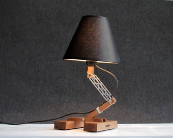 Wood Lamp, Industrial Table Lamp, Bedside Lamp, Modern Table Lamp, Pair Of Lamps, Industrial Style, Bedroom Decor, Night Lamp, Family Gift