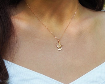Rose Gold Hummingbird Necklace, Rose Gold Bird Necklace, Gift for Her