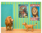 30% OFF SALE Lion art print, vintage circus posters, bright kids room decor: Lionized