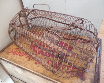 SALE...Rustic Metal Rat Trap...Small Animal Cage
