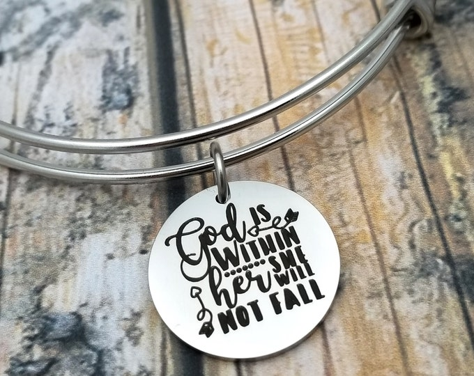 God is within her Customizable Expandable Bangle Charm Bracelet, choose your charms, create your style, design your bracelet,