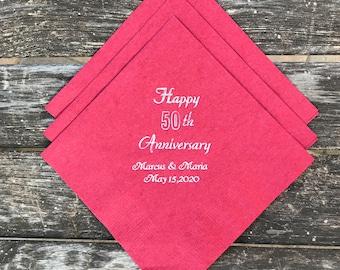 Happy Anniversary Personalized Napkins, Party Napkins, Party Decor.