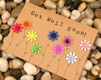Luxury Get Well Soon Paper Flowers and Button Greetings Card, Sickness Card, Get Well Card, Handmade, Paper cut, Made in Cornwall