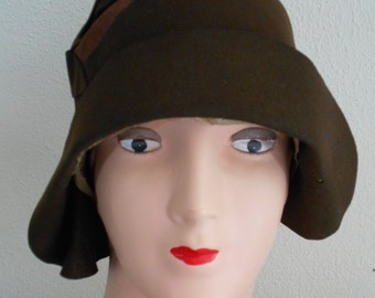 1920's Brown Felt Flapper/Downton Abbey/Great Gatsby Hat/Cloche