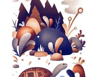 Turtle habitat print - 8x10 modern turtle print