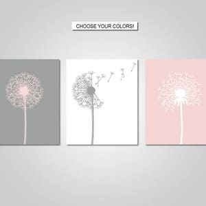 Dandelion Wall Art Decor -  Dandelion, Blush Pink, Grey - Flower Wall Art - Prints - Canvas - Printable
