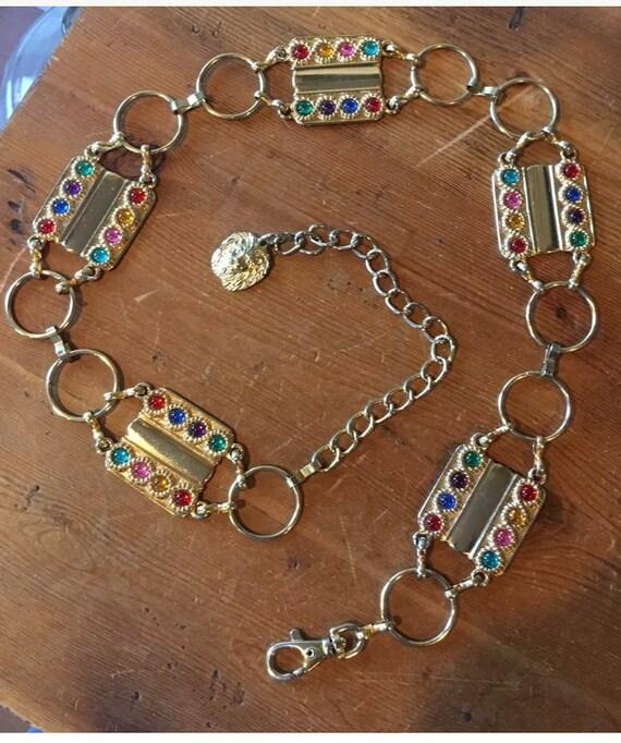 Fabulous Vintage 80s 90s Glam Goldtone & Lucite Jewel Plaques on Lion Head Chain Hip Bling Belt size L