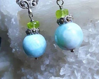 Petite Larimar Peridot on Oxidized Sterling Silver Blue Green Drop Earrings Gift for Her
