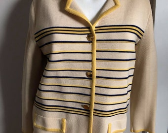 Striped sweater with gold buttons