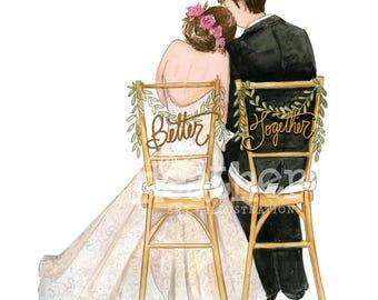 Bride and Groom Illustration | Bride and Groom Art Print | Wedding gift | Bridal gift | Bridal Illustration
