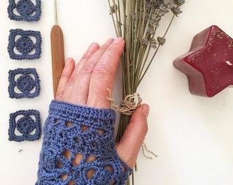 Crochet Fingerless Gloves, Hand Warmers Girl Women, Blue  Lace Glove Cotton, Winter Accessories, Lover Gift, Hand Warmers, Christmas Gift