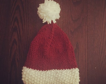 Hand-knitted Santa hat -Adult size