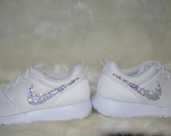Clear Rhinestone Crystal White Nike Roshe Run