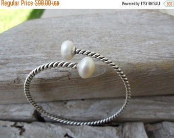 ON SALE Pearl bangle bracelet handmade in sterling silver