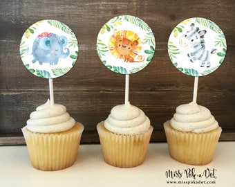Jungle Animals Safari Cupcake Topper, Printable, Young Wild and Three, Neutral, Lion, Elephant, Zebra, Digital, Party Decoration, Sticker
