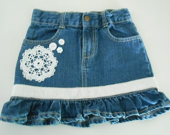 up cycled denim jean skirt  doilies for girls size 5