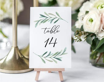 Printable Greenery Table Number Set - Wedding Table Cards - Eucalyptus Table Number set 1-40 - Instant Download PDF - 4x6 inches - GD3806