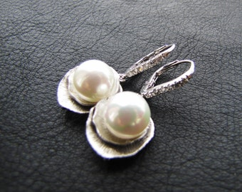 Bridal South sea shell pearls on lotus silver drop on cubic ziconia lace sterling silver plated ear hooks - Pure Lotus
