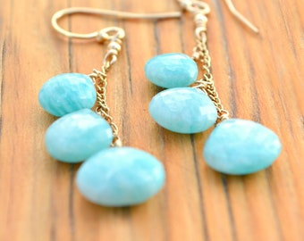 Amazonite Earrings With 14k Gold Fill Findings And Chain | Blue Amazonite Dangle Earrings | Boho Chic Jewelry | Birthday Gift For Her