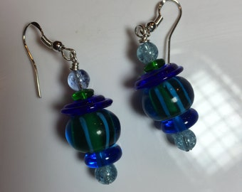 Ble and Green striped with Cobalt Blue Disc Glass Lampwork Earrings on sterling earwires.