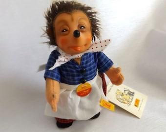 Vintage Steiff Girl Hedgehog - Micki Steiff Hedgehog Doll -  350603 w Original Tags, Ear Button, Retail Hang Tag and Steiff Box