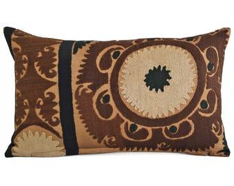 Suzani Embroidered Pillow Cover 12x20, Suzani throw pillow covers,Uzbek suzani pillows, Pillow Cover Silk Suzani, Suzani Throw Pillows