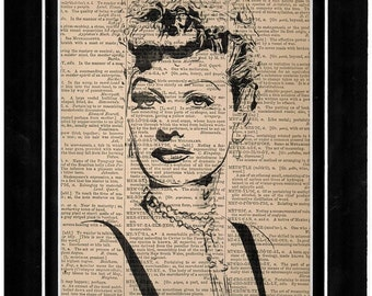 251 Lucille Ball from I Love Lucy dictionary art print 251
