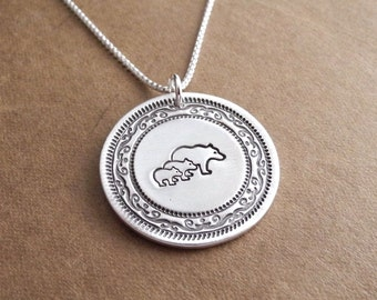 Mother Bear and Two Cubs Necklace, Mom and Two Kids, Two Children Jewelry, Fine Silver, Sterling Silver Chain, Made To Order