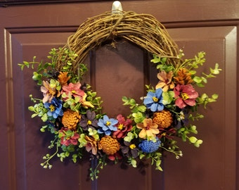 Handpainted Wreath using Pinecones