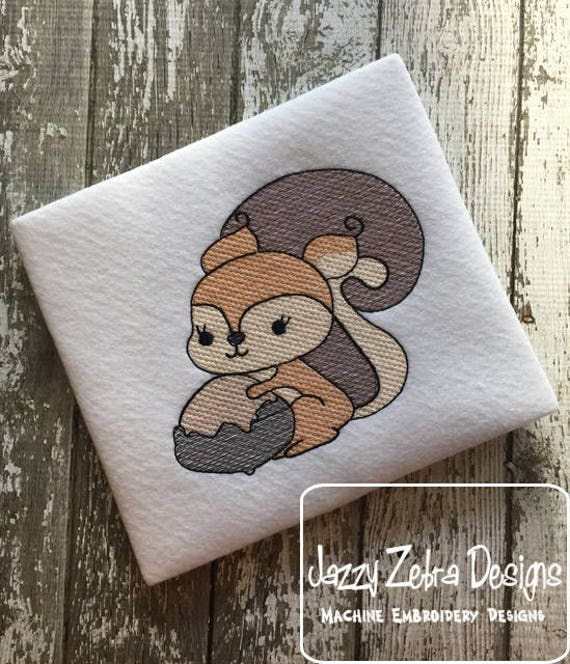 Squirrel with nut sketch embroidery design - squirrel embroidery design - fall embroidery design - sketch embroidery design - girl design
