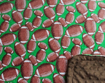 Minky Blanket Football Print Minky with Kelly Green Background with Brown Dimple Dot Minky Backing - Perfect Size a Toddler or Child
