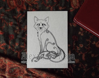 Celtic Knotwork Fox Art Print - 5x7
