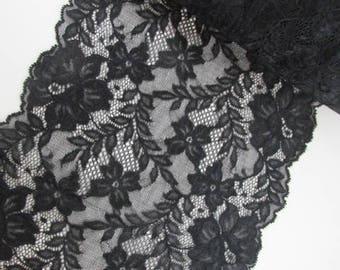 """Extra Wide Black Lace Scalloped Both Sides, Stretch, 9"""" Wide Shear, Veil, 1 Yard Made and Shipped from USA #38"""