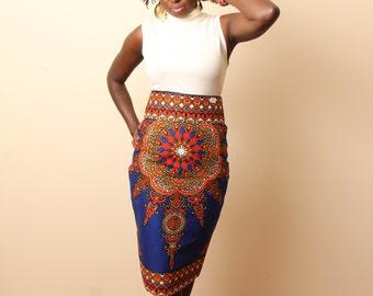 Bold Print Pencil Skirt (Royal Blue)
