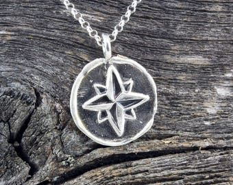 Handmade Sterling Silver Compass Rose Necklace