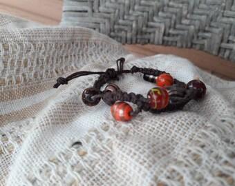 Dark brown and red scheme beaded macrame bracelet