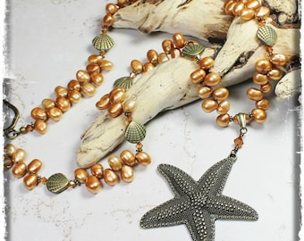 Sea Star... Handmade Jewelry Necklace Beaded Pearl Crystal Antique Brass Metal Beach Ocean Starfish Seashell Sea Shell Clam Bronze Copper