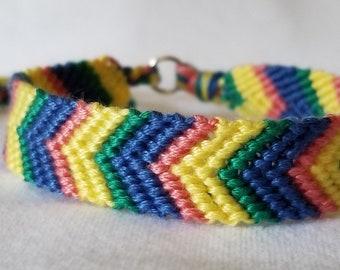 Yellow, Blue, Pink and Green Handwoven Chevron Pattern Friendship Bracelet