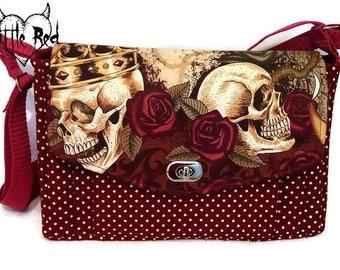 Skulls handbag, skulls, roses, handbag, purse, burgundy, red