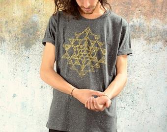 SRI YANTRA Men Shirt . Grey Melange . Golden Print. organic . Yoga . Skater . alternative