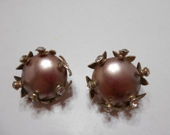 Vintage Cappuccino & Rhinestone Clip Earrings (4731) (BP)
