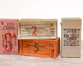 4 x Vintage Bus Tickets European British Pink Orange Colorful Paper Lot British Ephemera Junk Journal