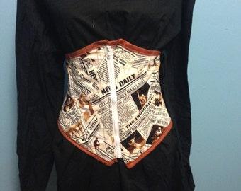 "Steampunk Under bust corset News Print Sports Ready to ship 28"" waist"