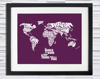 The World is a Book - World Word Map with Travel Quote