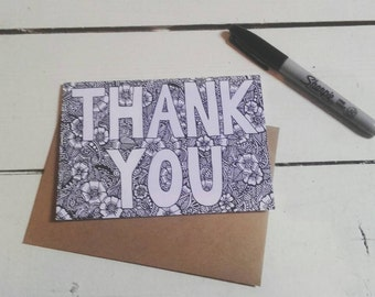 Thank you card - Thanks - A6 Greetings Card - Henna Mehndi Art - Fineliner Drawing - Flowers - Mandala - Zentangle