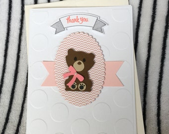 Handmade Paper Thank You Card - Baby Shower